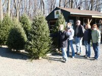 People Standing by Christmas Trees